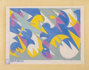 Giacomo Balla (1871-1958), Lines of Space and Speed, 1925-30, drawing for textiles
