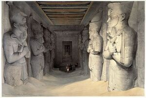 Giant limestone statues of Ramses II (Rameses - 1304-1237 BC) holding the crook