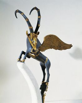 Gilded silver handle of vase depicting winged ibex, from Palace of Darius I, from Shush (ancient Susa), Iran