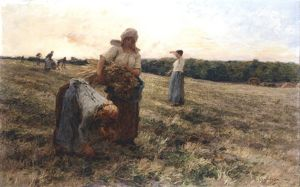 Gleaners at Sunset (1889). Artist, Leon Autustin L'Hermitte (1844-1925)
