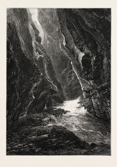 GORGE OF THE TAMINA, PFAFERS, Switzerland, 19th century engraving