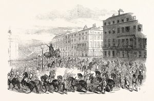 THE GRAND PROCESSION OF THE WELLINGTON STATUE, TURNING DOWN PARK LANE, 1846