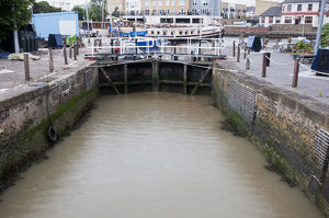 Great Britain, England, Kent, Gravesend, canal lock gates