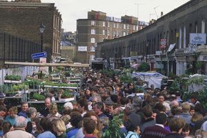 Great Britain, England, London, Columbia Road, crowded flower market, elevated view.