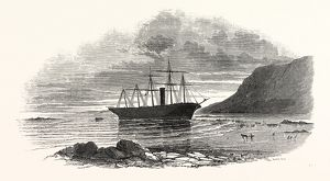'THE GREAT BRITAIN' STEAMSHIP, SKETCHED ON THE MORNING AFTER SHE WENT ASHORE