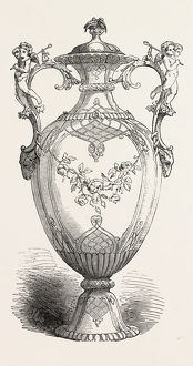 THE GREAT EXHIBITION: VASE, BY MESSRS. MINTON AND CO. THE HANDLES IN ELECTRO-SILVER