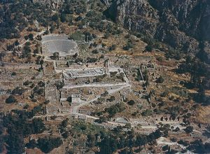 Greece, Aerial view of the archaeological site of Delphi