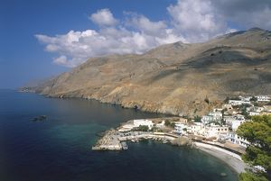 travel/greece crete aerial view sfakia harbour houses