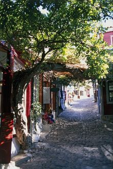 Greece, narrow cobblestone alley lined with buildings