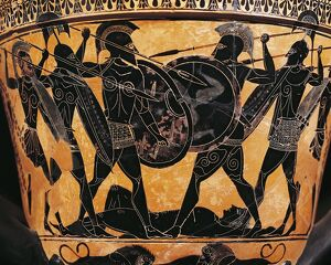 Greek civilization, Black-figure pottery, Krater depicting fight for the body of Patroclus