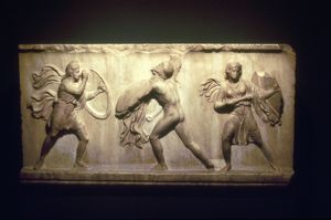 Greek warrior fighting Amazons, the female warriors. 8th-5th century BC. Limestone