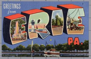 Greeting Card from Erie, Pennsylvania. ca. 1942, Erie, Pennsylvania, USA, Greeting Card from Erie