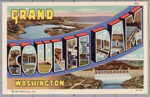 Greeting Card from Grand Coulee Dam, Washington. ca. 1942, Grand Coulee, Washington, USA, 1251
