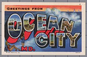 Greeting Card from Ocean City, Maryland. ca. 1944, Ocean City, Maryland, USA, Ocean City