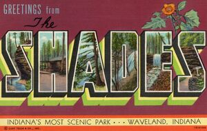 Greeting Card from Scenic Park. ca. 1941, Waveland, Indiana, USA, Since 1860 the