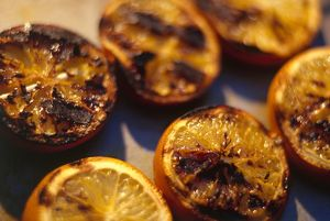 Grilled lemon halves, close-up