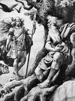 Halftone of god Odin looking for wisdom
