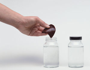 Hand putting liver into jar of clear liquid.