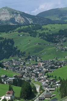 High angle view of houses in a valley, Alto Adige, Val Gardena, Selva, Italy