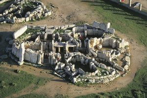 High angle view of the old ruins of a temple, Hagar Qim temple, Malta