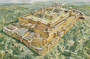 High angle view of a palace and a temple, Solomon's Palace, Solomon's Temple