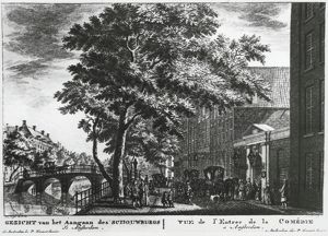 Holland, Amsterdam, facade and entrance to Schowburg Theatre, by Simon Fokkel, engraving