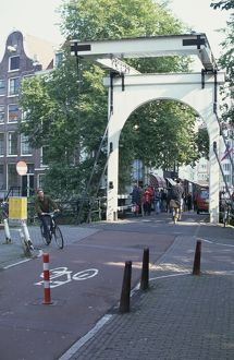 Holland, Amsterdam, view from the road of a lift bridge on Staalstraat, crossing
