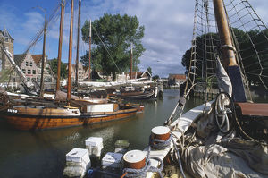 Holland, Hoorn, traditional wooden fishing boats in the harbour.