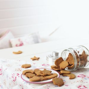 Home-made ginger biscuits of various shapes on plate, and spilling from jar onto table