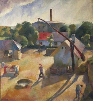 Hungary, Budapest, A Peasant Village, 1927, oil on canvas
