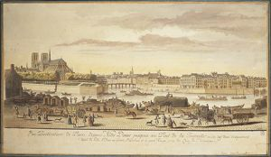 Ile de la Cite (City island), Notre-Dame Cathedral and the Banks of the Seine in Paris in 1770