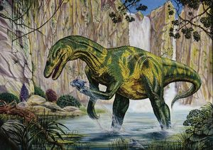 Illustration of Baryonyx catching fish by waterfall