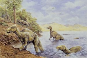 Illustration of Edmontosaurus getting out of lake