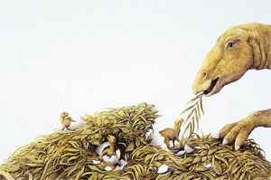Illustration representing Maiasaura with young in nest