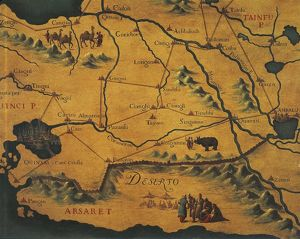 IMarco Polo's route across the eastern Deserts - Maps by Gian Battista Ramusio