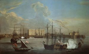 India, Bombay, Port in 1732 by George Lambert and Samuel Scott