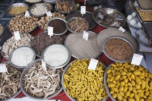 India, Delhi, Khari Baoli, spices, nuts, seeds for sale at spice market