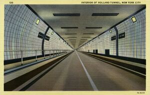 Interior of Holland Tunnel. ca. 1937, New York, New York, USA, 120. INTERIOR OF HOLLAND TUNNEL