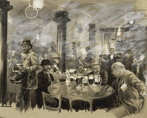 Interior of the winter Bierhaus in Vienna by Wilhelm Gause (1853-1916), watercolor