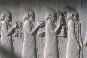 Iran, Persepolis, Reception Hall 'Apadana', relief of tribute bearers