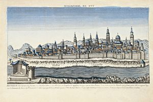 Israel, Palestine, Optical View of Jerusalem with Kidron's tower, illustration