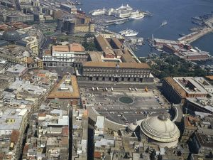 Italy, Campania Region, Naples, Aerial view of Royal Palace
