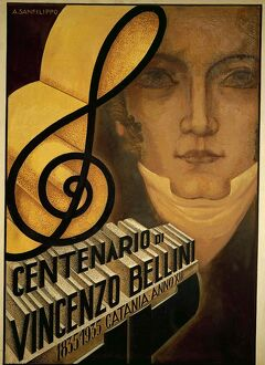 Italy, Catania, commemorative poster for centenary of death of Vincenzo Bellini