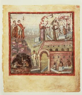 Italy, The construction of a city, miniature from the manuscript Vaticanus Latinus 3225