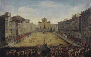 Italy, Florence, Piazza Santa Croce with Florentine football game or costume football game in 1739