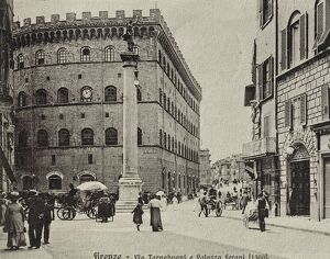 Italy, Florence, Via Tornabuoni and Palazzo Ferroni, 20th Century, postcard