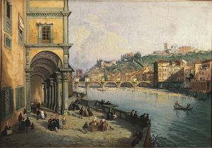 art/painting sculpture prints 19th century/italy florence view florence ponte alle grazie
