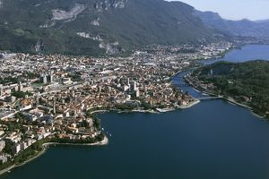 Italy, Lombardy, Lake Como, Lecco, aerial view