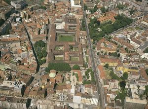 Italy, Lombardy Region, Milan, Aerial view of University of Milan, known as Statale