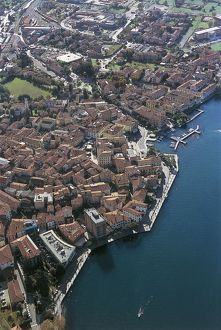 Italy, Lombardy Region, Province of Brescia, Aerial view of Iseo on Lake Iseo or Sebino